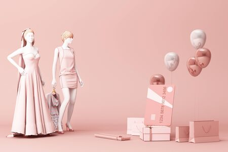 Mannequin surrounded by shopping bag and the gift box with credit card on the pink backdrop.-3d rendering Banque d'images