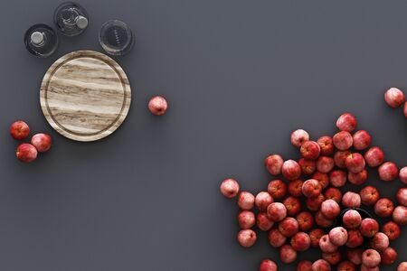 Kitchenware and a lot of apples on grey background. 3d rendering Zdjęcie Seryjne