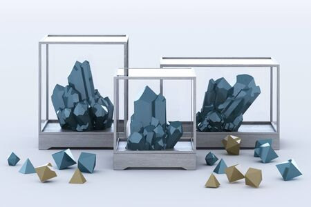 Product of blue mineral formation, minerals, quartz, gems, diamonds. 3d rendering