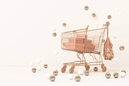 Supermarket shopping cart surrounding by gold and white ball background. 3d rendering Stock Photo