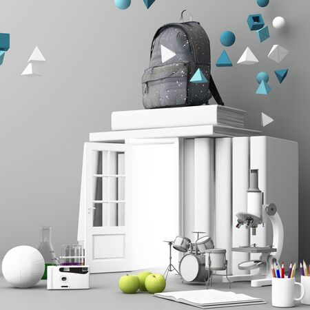 back to school ,inspiration, poster with educational equipment and door open at book tower. 3d rendering Banque d'images - 132046982