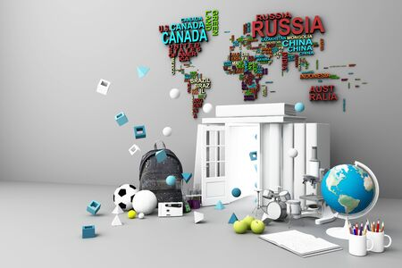 back to school ,inspiration, poster with educational equipment and door open at book tower. 3d rendering