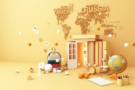 back to school ,inspiration, poster with educational equipment and door open at book tower. 3d rendering 스톡 콘텐츠 - 132046965