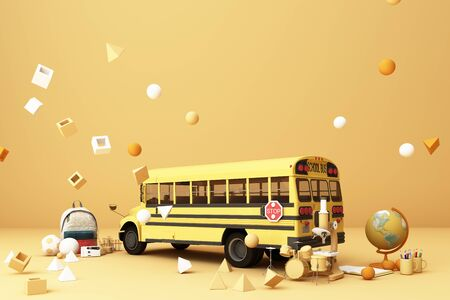back to school ,inspiration, poster with educational equipment and school bus. 3d rendering Foto de archivo - 132048828