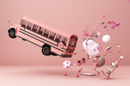 back to school ,inspiration, poster with educational equipment and school bus. 3d rendering Banque d'images - 132048680
