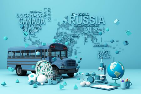 back to school ,inspiration, poster with educational equipment and school bus. 3d rendering Banque d'images - 132048091