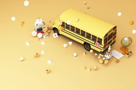 back to school ,inspiration, poster with educational equipment and school bus. 3d rendering 스톡 콘텐츠