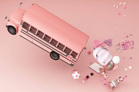 back to school ,inspiration, poster with educational equipment and school bus. 3d rendering 스톡 콘텐츠 - 132048261