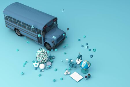back to school ,inspiration, poster with educational equipment and school bus. 3d rendering Banque d'images - 132048318