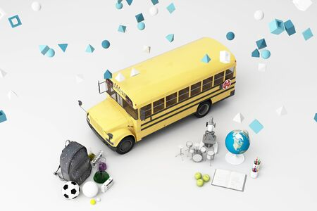 back to school ,inspiration, poster with educational equipment and school bus. 3d rendering Foto de archivo - 132048145