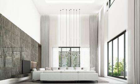 Stile moderno e minimale di soggiorno e zona pranzo con set di divani, decorazione della parete in marmo nero e piastrelle del pavimento grigie. rendering 3d Archivio Fotografico