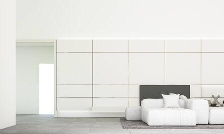 Moderner minimalistischer Wohn- und Essbereich mit Sofagarnitur und grauem Fliesenboden. 3D-Rendering Standard-Bild