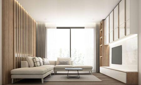Sala de estar de estilo minimalista moderno con decoración de pared empotrada y mueble de tv con juego de sofá y mármol blanco y madera. Representación 3d