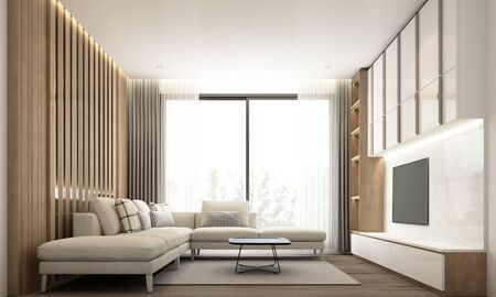 Wohnzimmer im modernen minimalistischen Stil mit eingebauter Wanddekoration und TV-Schrank mit Holz und weißem Marmor und Sofagarnitur. 3D-Rendering