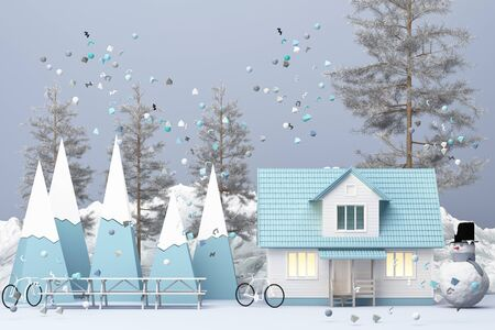 Beautiful Christmas winter snowy landscape background with mountains and low poly fir trees. 3d rendering
