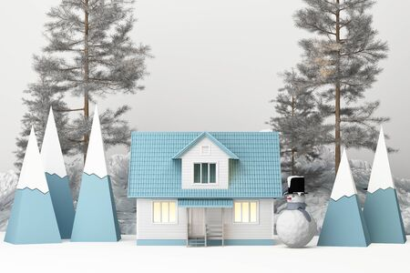 Beautiful Christmas winter snowy landscape background with mountains and low poly fir trees with snow man. 3d rendering
