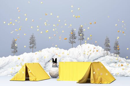 Beautiful Christmas winter snowy landscape background with mountains and low poly fir trees with snow man and yellow tent. 3d rendering