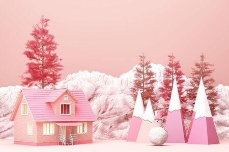 Beautiful Christmas winter snowy landscape background of pink tone color with mountains and low poly fir trees. 3d rendering Banco de Imagens