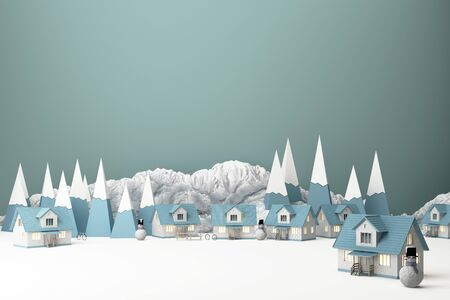 Beautiful Christmas winter snowy landscape background with mountains and low poly fir trees and house with snowman. 3d rendering Banco de Imagens