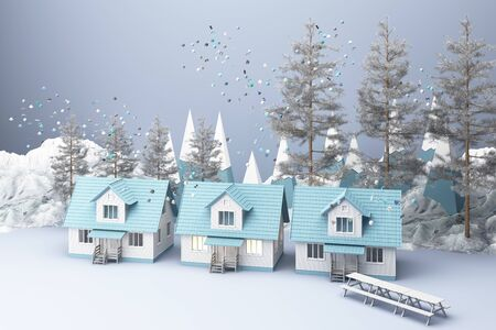 Beautiful Christmas winter snowy landscape background with mountains and low poly fir trees and house. 3d rendering