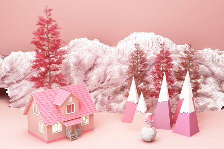 Beautiful Christmas winter snowy landscape background of pink tone color with mountains and low poly fir trees. 3d rendering Foto de archivo - 132103207