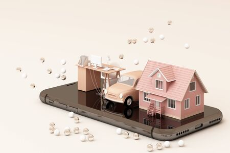 A house and vintage car and working table on the phone in pink tone color. 3D rendering 스톡 콘텐츠 - 133135542