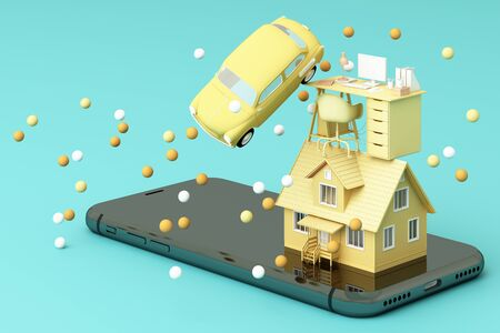 A house and vintage car and working table on the phone in yellow and green color. 3D rendering