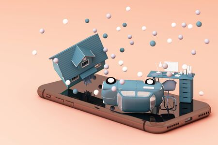 A house and vintage car and working table on the phone in pink and blue color. 3D rendering 스톡 콘텐츠