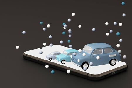 Blue car on the phone surrounded by many blue balls. 3D rendering 스톡 콘텐츠 - 133135409
