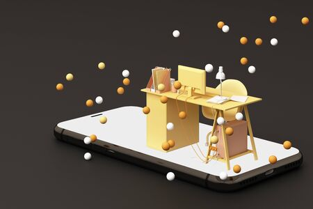 Yellow working table on the phone surrounded by many yellow balls. 3D rendering