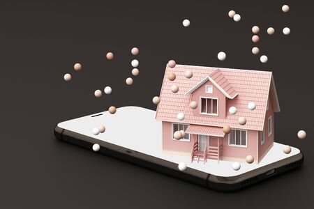 A pink house on the phone surrounded by many pink balls. 3D rendering 스톡 콘텐츠 - 133135440