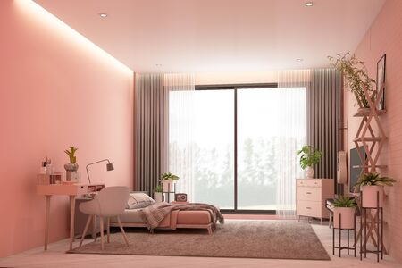 Scandinavian style pink room interior with tv cabinet on the wall and working table, wooden bed with pillows and blanket, cabinet and armchair. 3d rendering Stock Photo