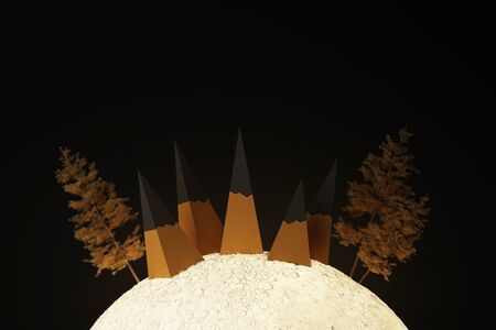 A cute low poly mountain on the moon glowing light surrounded by trees.