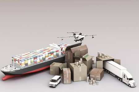 3D rendering of the crate box surrounded by cardboard boxes, a cargo container ship, a flying plan, a car, a van and a truck on white background Zdjęcie Seryjne