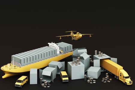 3D rendering of the crate box surrounded by cardboard boxes, a cargo container ship, a flying plan, a car, a van and a truck on  black background