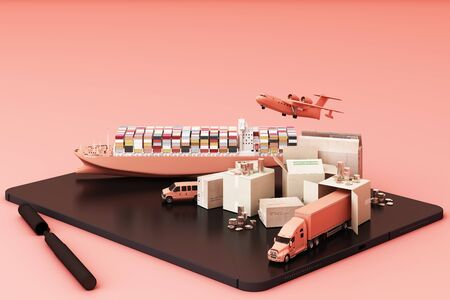 3D rendering of the crate box surrounded by cardboard boxes, a cargo container ship, a flying plan, a car, a van and a truck on pink background and tablet