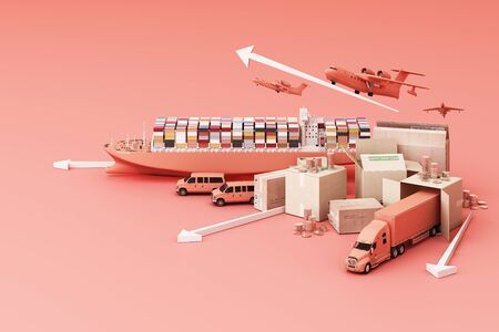 3D rendering of the crate box surrounded by cardboard boxes, a cargo container ship, a flying plan, a car, a van and a truck on pink background