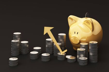 Saving money concept, business rich income show as stack money coin growing arrow with piggy bank smile over coins pile 3d rendering
