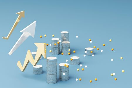 Coins graph Business growth graph chart 3d render