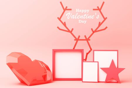 Valentines day concept background red and pink hearts and star with white square frame 3d rendering 版權商用圖片