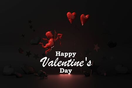 Valentines day glow concept black background with red  Cupid and red hearts with black star and decoration 3d rendering