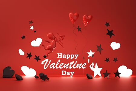 Valentines day glow concept red background with red  Cupid and red hearts with black star and decoration 3d rendering 版權商用圖片