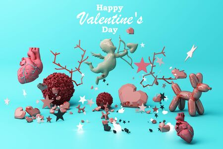Valentines day concept background with red and pink hearts star rose with white square frame and love decoration 3d rendering
