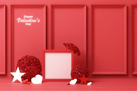 Valentines day concept red decorate wall background with red hearts with red star and decoration 3d rendering