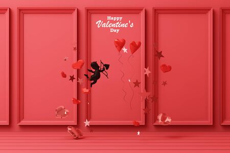 Valentines day concept red decorate wall background with black cupid red hearts with red star and decoration 3d rendering 版權商用圖片