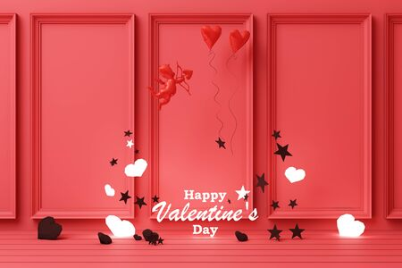 Valentines day concept red decorate wall background with red cupid red hearts with red star and decoration 3d rendering