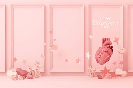 Valentines day concept pink decorate wall background with pink hearts with pink star and decoration 3d rendering