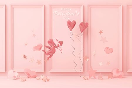 Valentines day concept pink decorate wall background with pink cupid and pink hearts with pink star and decoration 3d rendering
