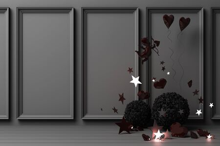 Valentines day concept black decorate wall background with black hearts with black star and decoration 3d rendering