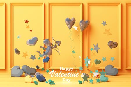 Valentines day concept yellow decorate wall background with blue hearts with blue star and decoration 3d rendering 版權商用圖片